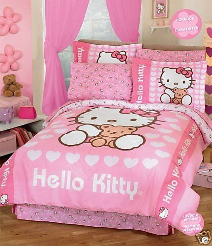 Hello Kitty Bedroom....Kaylee wants this now.