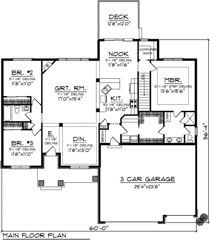 Bungalow Style House Plan 3 Beds 2 Baths 1884 Sq/Ft Plan