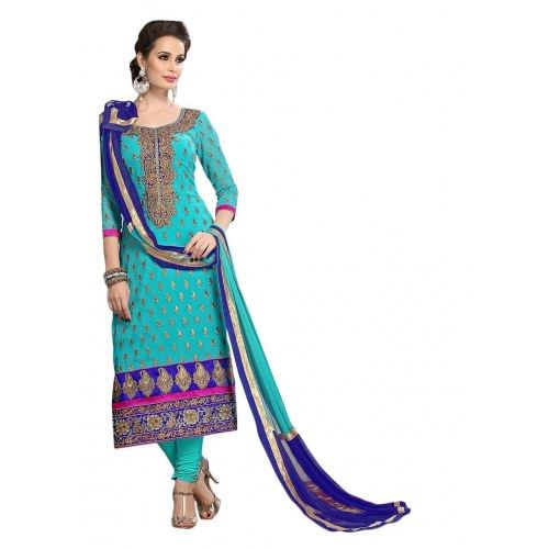 Sky Blue Colored Pure Chanderi Straight Suit-FISRCL_0071-Salwar Suit by Craftslilla Fashions-Online Shopping for Salwar Suit by saililla - Online Shopping for Salwar Suit by saililla