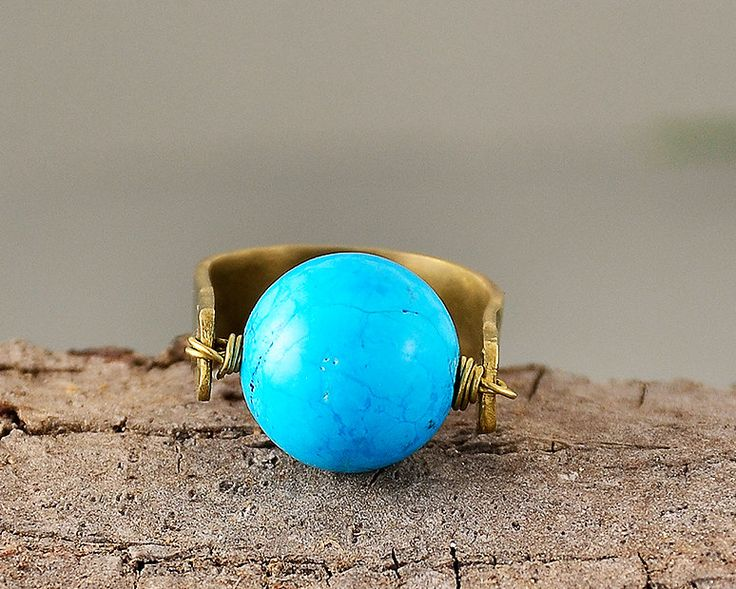 Turquoise hammered ring, gold tone jewelry, pinky finger band, little finger ring,finger ring, big stone ring,wife gift idea,present for mom by ColorLatinoJewelry on Etsy