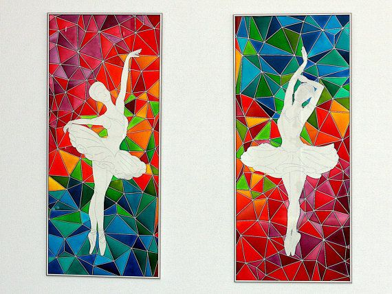 Ballerinas Contemporary Painting on Glass-Original Dancer