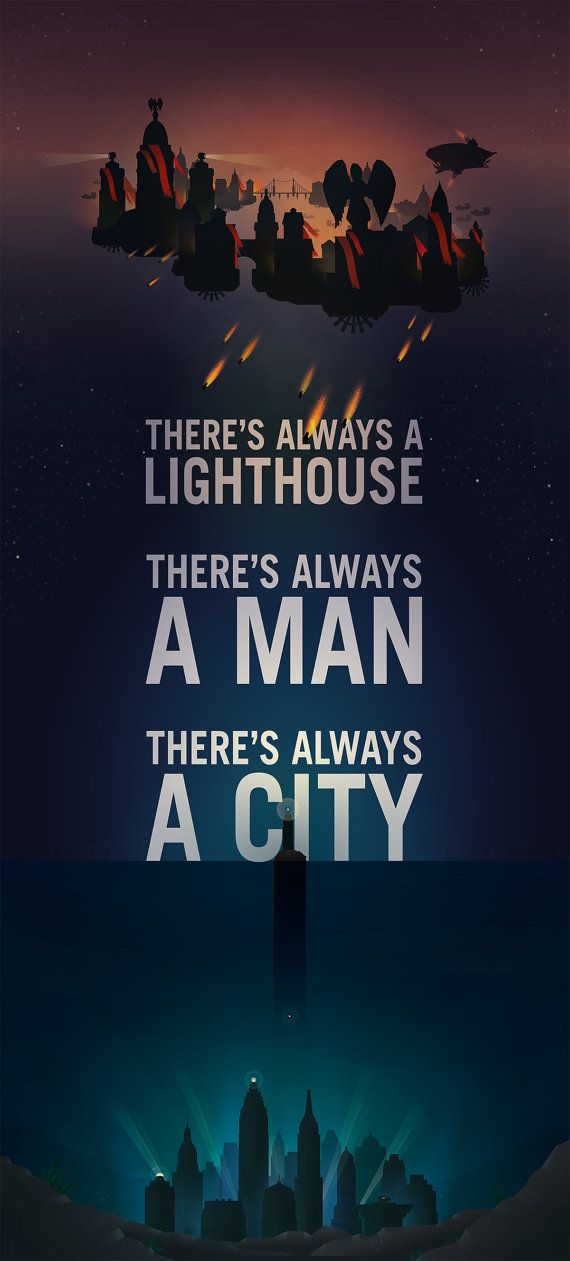 Theres always a Lighthouse, Theres always a Man, Theres always a City    This design is 7.5 x 16.5 print. If your would like a smaller size or