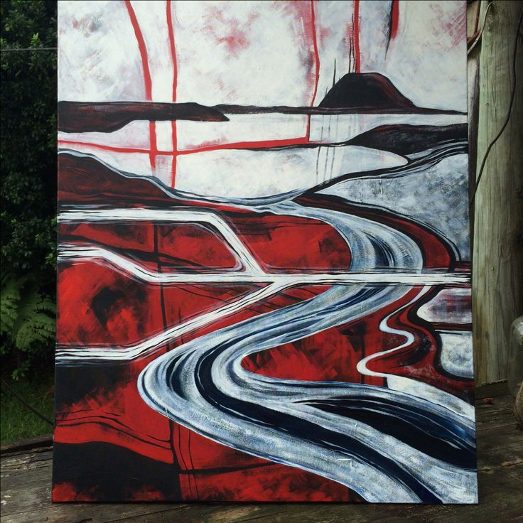 Painting of Wairoa River and Mauao painted over top of an older landscape.