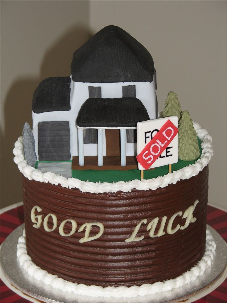 House cake: This cake was designed for a real estate agent leaving to start her own business. It is chocolate mudcake with dark chocolate ganache filling. The house is fondant covered rice crispies. www.facebook.com/cakesbyleannerhodes