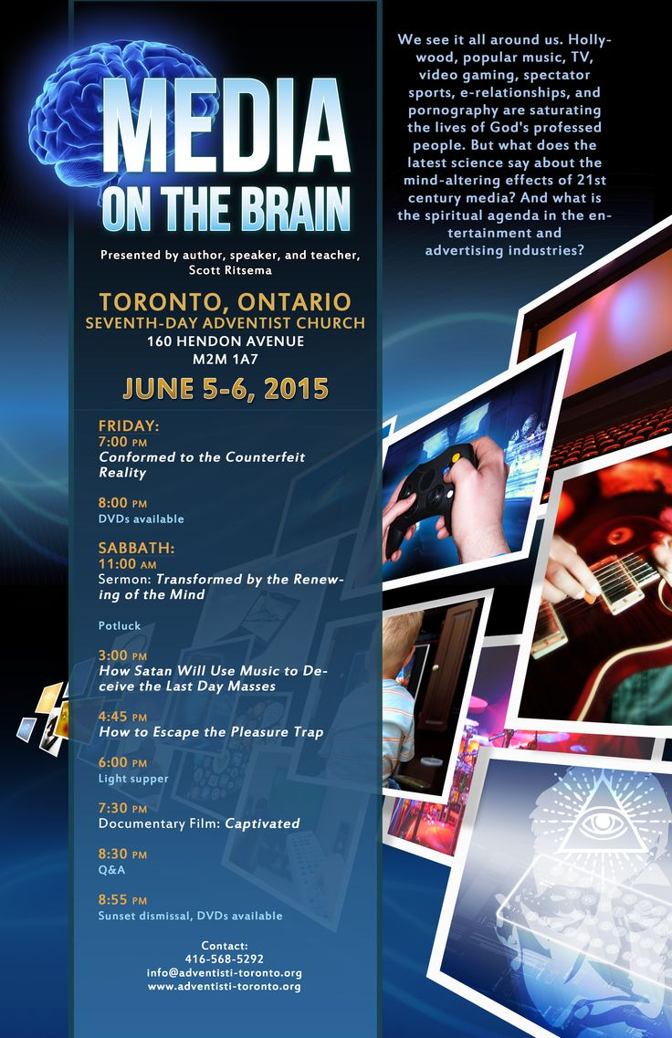 June 5-6, starting at 7:30 PM in Toronto. Free Seminar about Media On The Brain. What is media doing to our brains and the way we see ourselves from science and Christian perspective