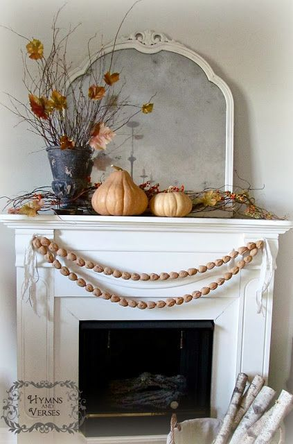 Fall Mantel with Walnut Garland | Hymns and VersesLiving Rooms, Fall Decor, Fall Mantels, Thanksgiving Decor, Shabby Chic, Fall Mantles, Walnut Garlands, Autumn Decor, Holiday Decor