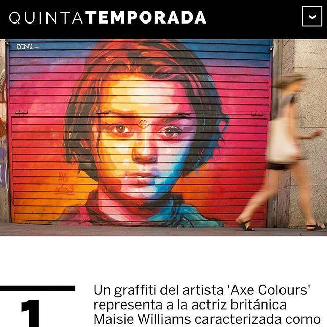 """AXE COLOURS en El País ! """"Las series que inspiran arte callejero  El artista Axe Colours se inspira en los personajes de conocidas series de televisión como 'Juego de tronos' o 'The Walking Dead' para decorar las calles de Barcelona."""" ▶ https://elpais.com/elpais/2017/07/30/album-02/1501431433_953920.html  #elpais #quintatemporada #gracia #barridegracia #graffiti #streetart #streetarteverywhere #urbanart #arteurbano #mural #drawing #painting #arya #aryastark #stark #maisiewilliams #got…"""