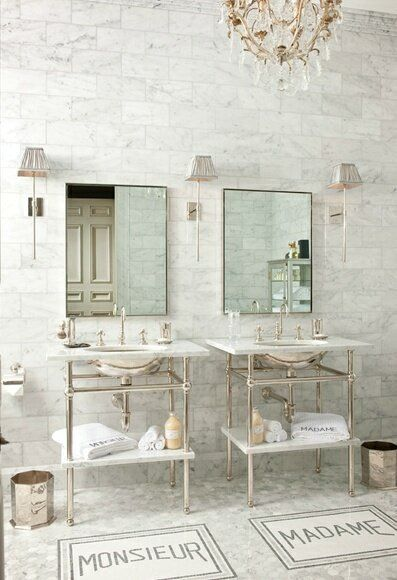 Dual Twin Double Vanity Sink His And Hers Madame Monsieur French Provincial White Bathroom With