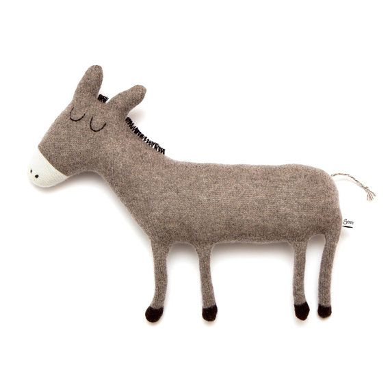 Donald the Donkey Lambswool Plush Toy Made to order by saracarr, $58.00