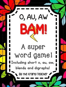 This super fun card game will have your students mastering the vowel sounds of AW and AU. Has 30 word cards. Your students will have so much fun they won't even know they are learning! *****************************************************************************Check out the Ultimate BAM!