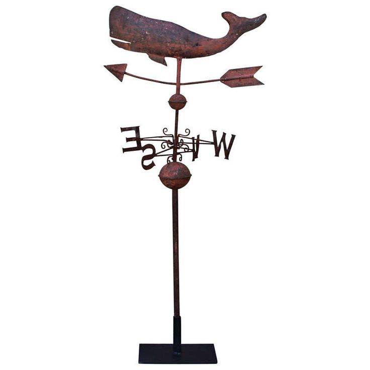 19th Century Original Salmon Painted Whale Weather Vane | From a unique collection of antique and modern weathervanes at http://www.1stdibs.com/furniture/folk-art/weathervanes/