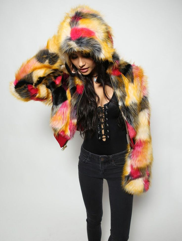 Womens Monarch Butterfly Crop Jacket. 100% faux fur. Available in XS-L.