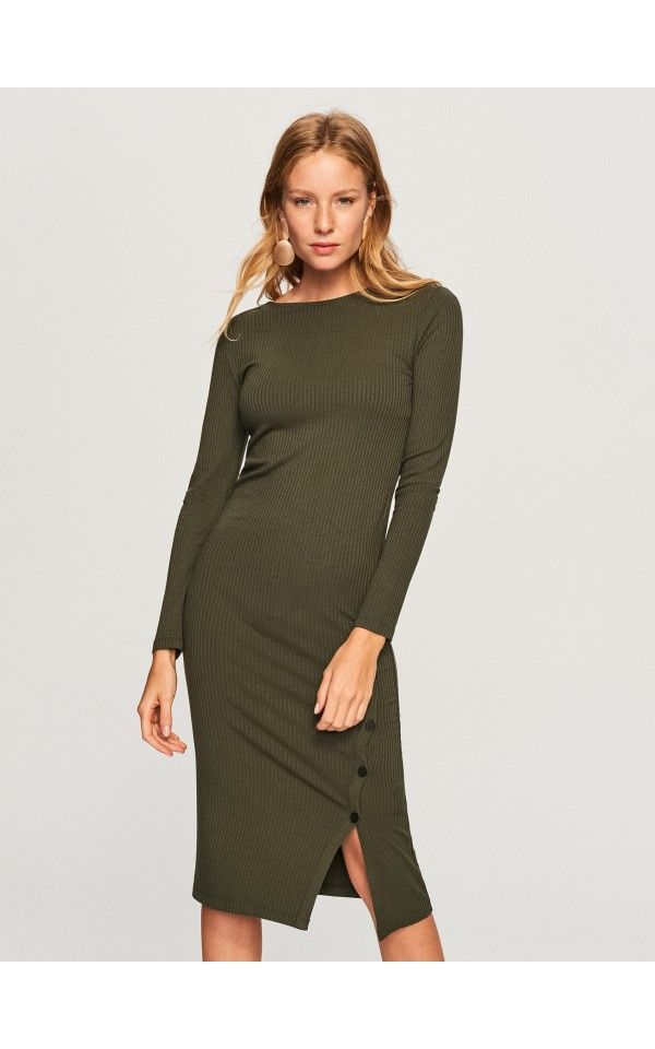 a56b5a66031743 Dzianinowa sukienka, Sukienki, kombinezony, khaki, RESERVED   ZAKUPY ...