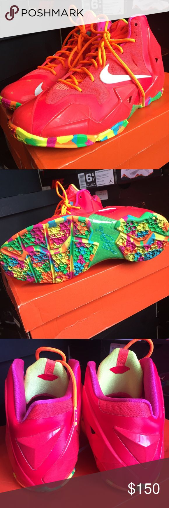 "Lebron ""fruity pebbles"" Like new condition worn once lebron Shoes Sneakers"