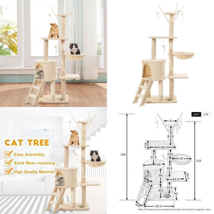 Large Cat Tree Scratching Post Activity Centre Tower Bed House Toy Mouse Beige