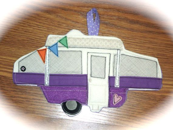 Maybe our ornament this year.  Camper Potholder, Camping potholder, pop up tent camper, Made to order