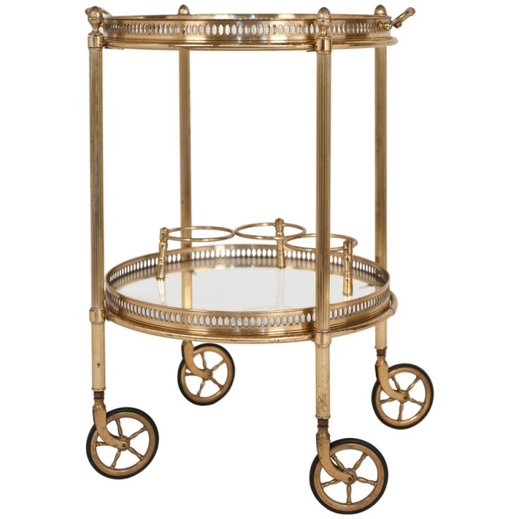 Vintage Round Brass & Glass Bar Cart | From a unique collection of antique and modern bar carts at http://www.1stdibs.com/furniture/tables/bar-carts/