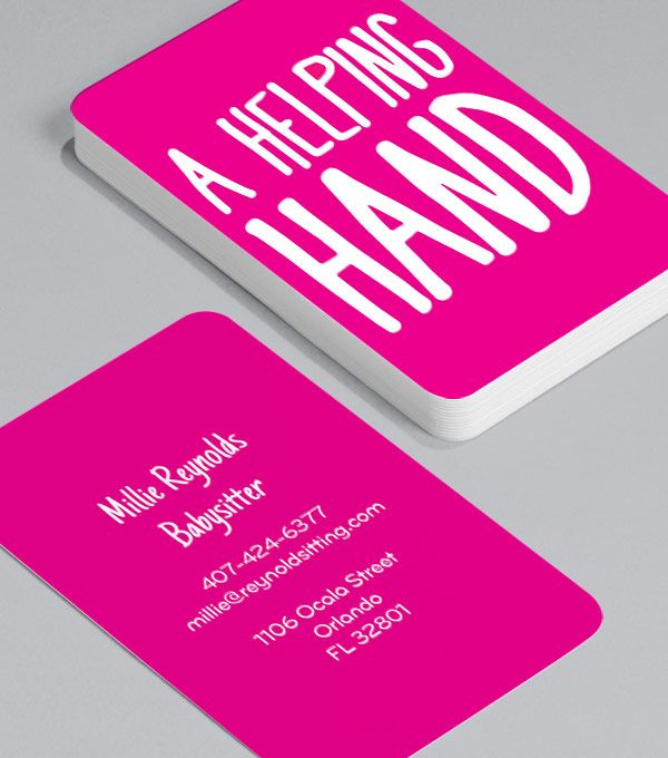 7 best business card images on pinterest carte de visite graph a helping hand a babysitter with a business card offers a level of professionalism designed to make leaving your children a painless experience reheart Gallery