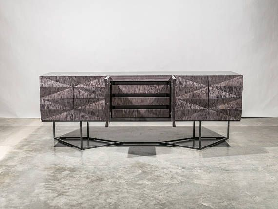 Credenza Modern Faceted Front Steel Base Gray Curly Maple Wood