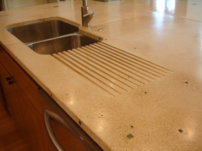 Built in drain in concrete countertop kitchen dining for Stainless steel countertop with built in sink