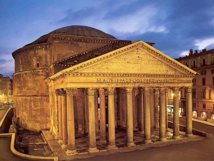 Panteón. El panteón de Agripa es un templo circular construido en Roma a comienzos del imperio Romano dedicado a todos los dioses.  En el año 80 sufrió daños por un incendio pero fue reconstruida por el emperador Domiciano