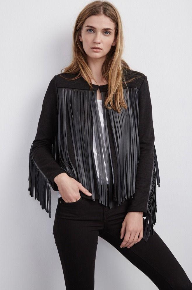 VELVET By Graham & Spencer Tiffany L/S Fringe Faux Leather Jacket Black S $269 #Velvet #FringeJacket #Casual