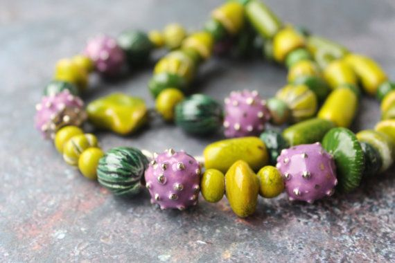 Artisan ceramic beads purple flower glaze  thistles от CeramicTale