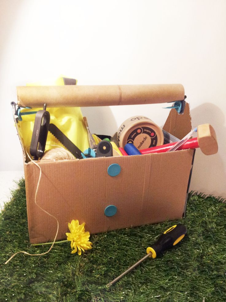 From Makedo.com - Toolbox made out of paper towel roll and cardboard box.  Great decorations for Workshop of Wonders - Vacation Bible School 2014, and they would be especially cute painted.  #firstpresorangeburgvbs