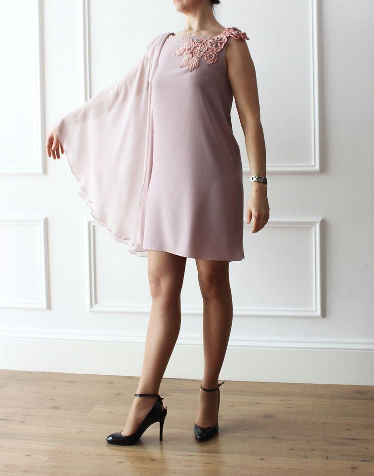 abito cerimonia, abito elegante, abito ricamo, abito chic,abito rosa antico, abito da sera, di IrisAtelier su Etsy
