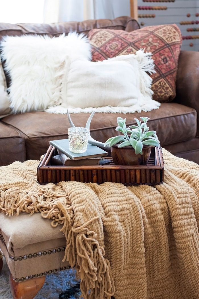 Boho chic - styling an ottoman tray with rustic, eclectic finds