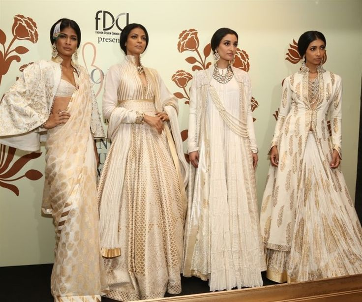 Indian white anarkalis and saris by Rohit Bal for India Couture Week 2014