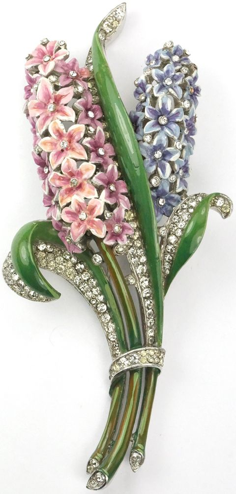 Trifari 'Alfred Philippe' Pave and Enamel Giant Double Hyacinth Pin Clip