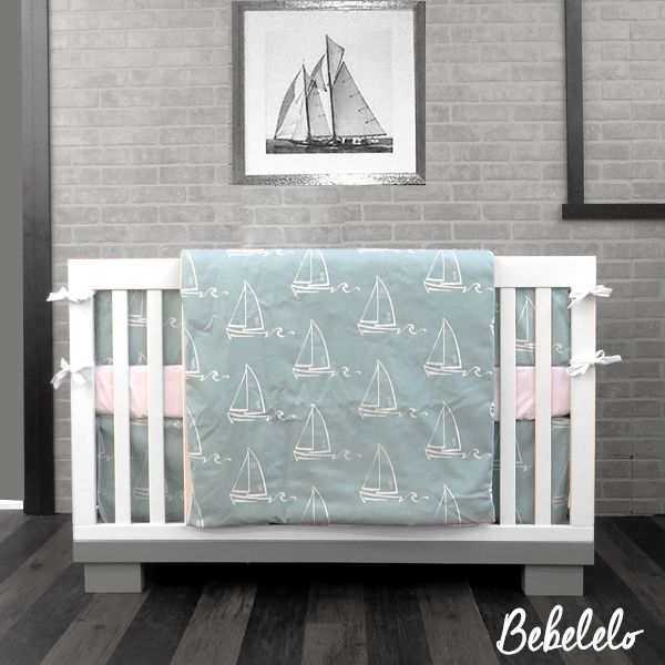 7 PCS BABY BEDDING SAILBOATS BLUE Soft tones of white and blue accent this wonderful watercolor sailboat design. Great for creating that nautical theme nursery you have always dreamed of. Printed on soft 100% cotton.  #sailboat #blue #bleu #voilier #modern #nautical #nautique