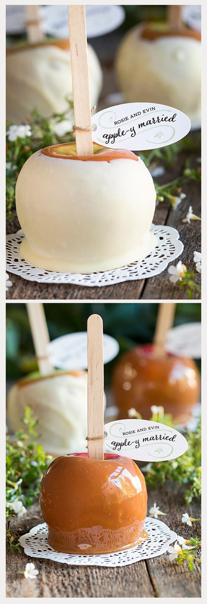 """25 Tasty Caramel and Candy Apples - """"Apple-y Married"""" caramel apple tags - love these!"""