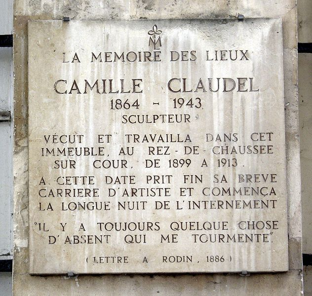 Plaque in memory of the French sculptor, Camille Claudel, on the Île Saint Louis where she lived and worked  at 19 quai de Bourbon, Paris 4ème