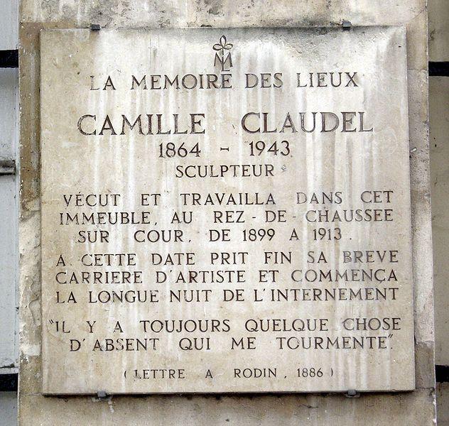 Plaque in memory of the French sculptor, Camille Claudel, on the Île Saint Louis where she lived and worked at 19 quai de Bourbon, Paris 4ème……reépinglé par Maurie Daboux….ღ. ¸.•*¨