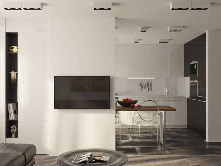 Apartment for a young couple 990 sq.ft. ( 92 sq.m.) / Living room and kitchen / Rendering / Software: 3ds max, PS