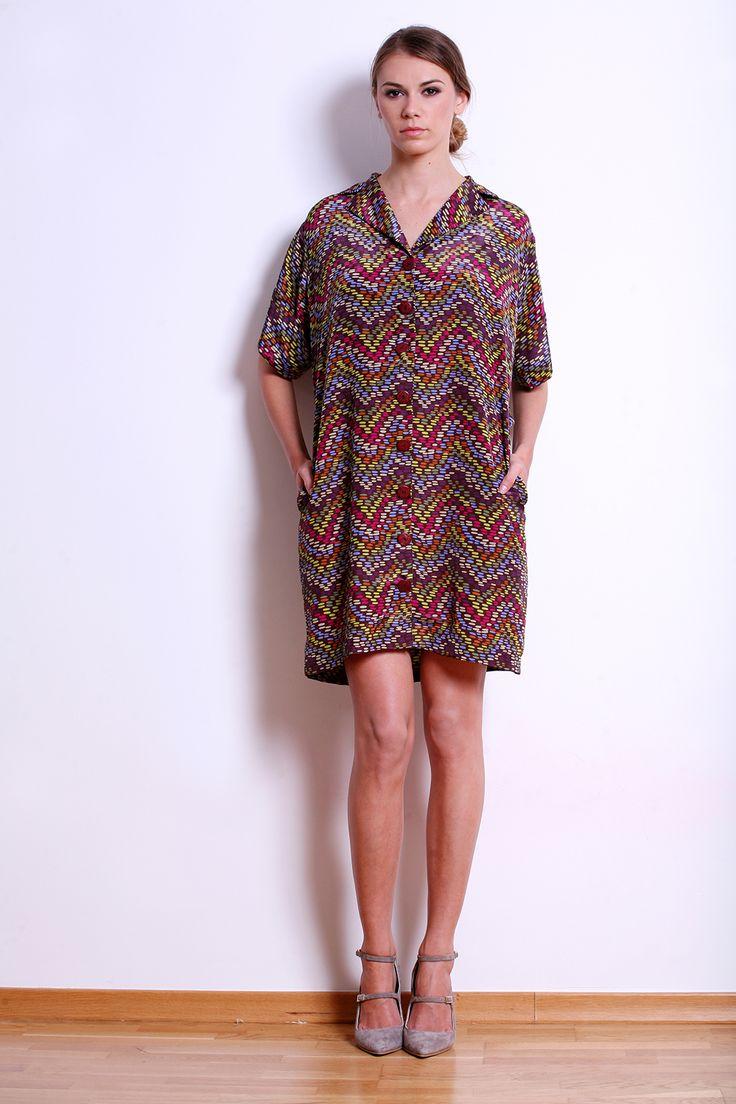 Silk Pattern Shirt Dress