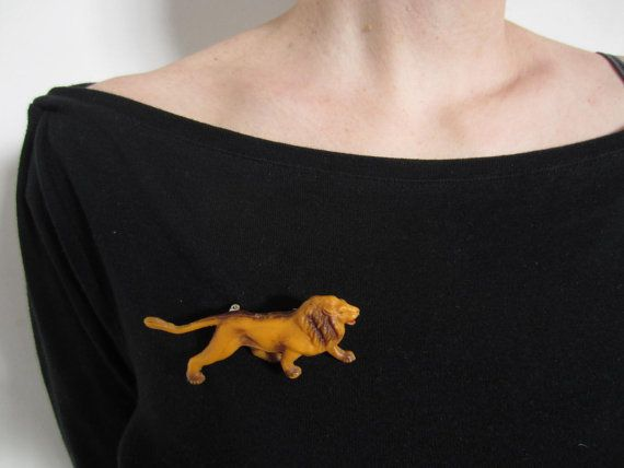 Plastic Animal Lion Brooch OOAK by GingerLab on Etsy, €9.00
