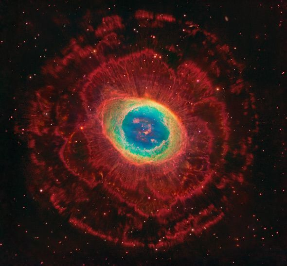 M57, or the Ring Nebula, is about 2,400 light years from Earth. It is the very bright remains of a now dead star. Even a small telescope can spot it.