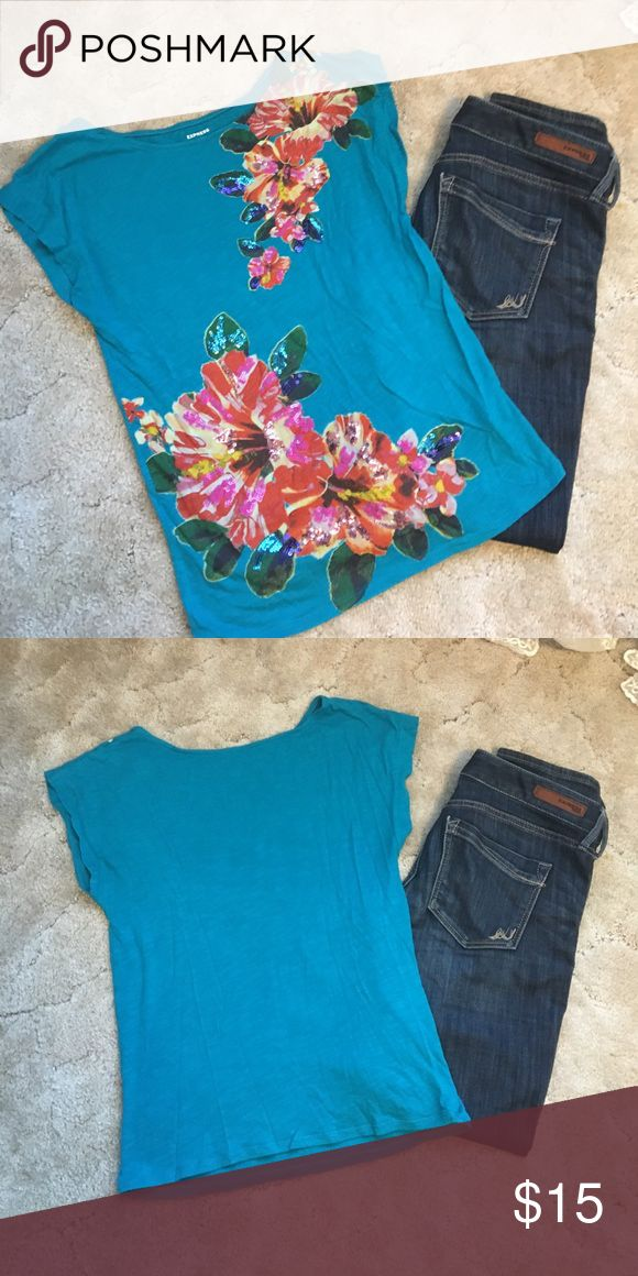 Express Embellished Tee Cute turquoise & floral designed tee by Express. Flowers embellished with sequins. Size XS. Excellent Used Condition. Express Tops Tees - Short Sleeve