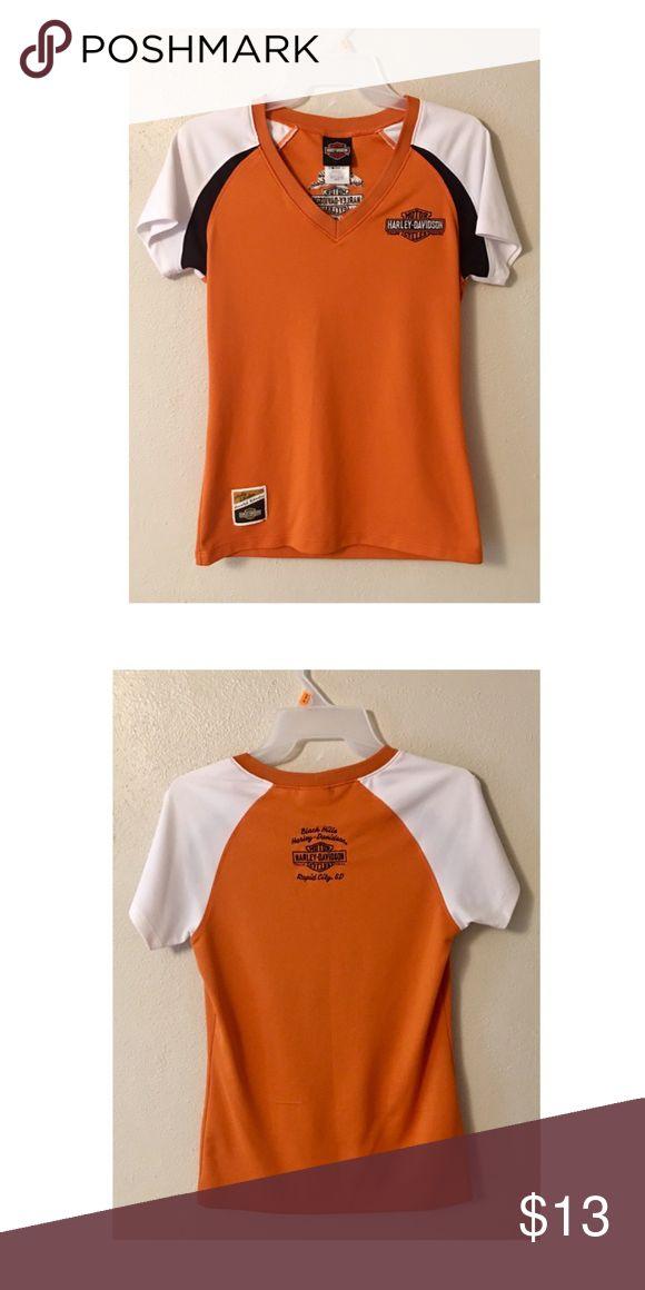 Harley Davidson Orange Short Sleeve Small Shirt Ladies Harley Davidson Orange Short Sleeve Small Shirt, 100% Polyester, Excellent Condition Harley-Davidson Tops Tees - Short Sleeve