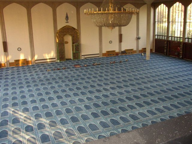 Bespoke carpet installation for Regents Park Mosque.