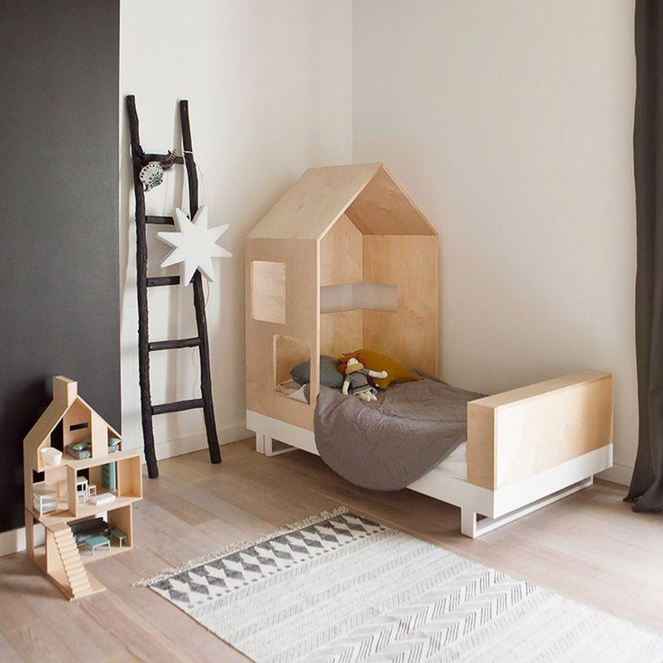lit junior cabane 80x160 cm naturel chambres b b deco. Black Bedroom Furniture Sets. Home Design Ideas
