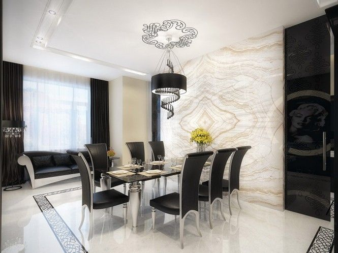 white marble dining room with black furniture With nice light fixture and love the faux art on ceiling as a medallion