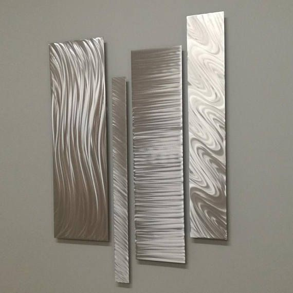 Metal Wall Art Metal Wall Accent Modern Wall Sculpture Silver