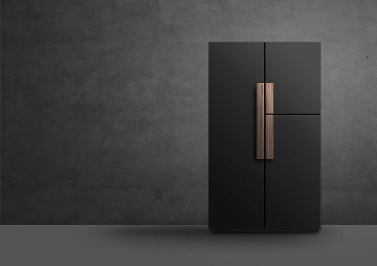 Wooden handle matte black minimalist refrigerator design.