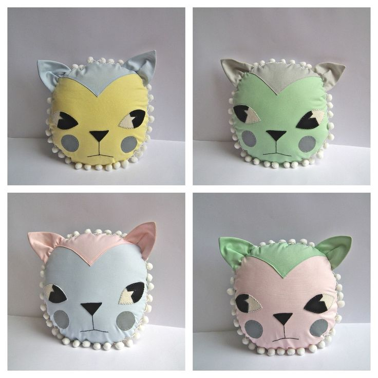 Cat Cushions by Cloth and Thread: Cat Collage, For Kids, Pretty Cat, Picmonkey Cat, Felt Cat, Cat Pillows, Pretty Pastel, Cat Faces, Cat Cushions