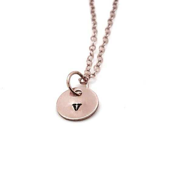 Rose Gold Initial Necklace Letter v Necklace All Letters