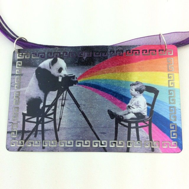 Laser Rainbow Camera Panda Necklace!   Vintage photo hand painted then hand printed on metal and made into a necklace.